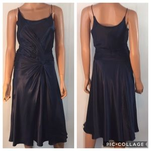 NWT Laundry by Design Navy Blue Silk Dress Sz Sm